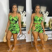 Women's Tracksuits ADFVAT Sexy Halter Backless Crop Top Green Leaves Printed Skinny Mini Skirts Slim Hollow Lrregular Suits LS6417