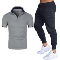 Men's Tracksuits 2021 Summer Two-piece Shirt Short-sleeved T-shirt Top + Breathable Sports Pants Suit Fashion Casual