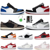 حذاء رياضي Nike Air Jordan Retro 1 Low White Off Travis Scott نسائي رجالي Jumpman 1 1s حذاء كرة السلة شيكاغو فليب ولدت باريس Tropical Twist Trainers أحذية رياضية