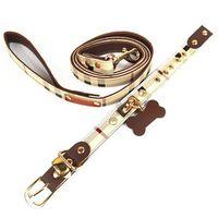 1 stks Zomer Nieuwste Huisdieren Kraag Leidingen Ins Stijl Gedrukt Pet Lederen Halsbanden Sets Outdoor Duurzame Hondenriem 10 stijlen XHH21-388