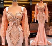 플러스 사이즈 아랍어 아소 에비 고급스러운 인어 섹시 댄스 파티 드레스 복숭아 핑크 레이스 페르시 긴 소매 저녁 공식 파티 두 번째 리셉션 가운 드레스
