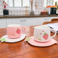 Cups & Saucers Creative Cute Strawberry Pattern Cup And Saucer Set Lovely Milk Mug Juice Coffee 250ml Children's Gift Girlfriend' HAP