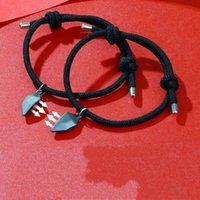 Charm Bracelets 2Pcs Magnetic Couple Bracelet Lovers Heart Wishing Stone Pendant Distance Women Men Valentine's Day Gift 2021