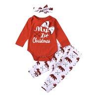 Baby Kindergeborene Mädchen Weihnachten Langarm Strampler + Hosen + Stirnband Bow-Knoten Niedlichen Tier Drucken Dekoration Kleidung Sets