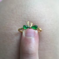 Cluster Rings S925 Sterling Silver Natural Sun Green Bow Ring Inlaid With Open Face Women Wedding Party Gifts Accessories Jewelry
