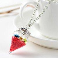 Anhänger Halsketten Original Drifting Flasche Lebendige Pendent Cone Glass Halskette Kreative Natürliche Drift Sand Frauen Trockene Blume Mädchen Geschenk