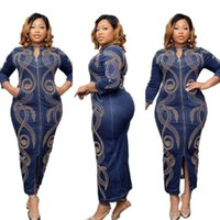 Ethnic Clothing Long African Dresses For Women Africa Design Clothes Bazin Stretch Denim Dashiki Maxi Dress