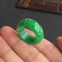 Natural Verde Jade Ring Jadeite Amuleto Moda China Charm Joyería a mano Tallado Crafts Luck Gifts Mujeres Hombres Y0611