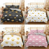 Conjuntos de camas Patrón de corona Homesky Set Princess Girl Duvet Funda Imprimir Edredón con almohadasCasas King Queen ropa de cama