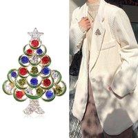 Neue Mode Grüner Emaille Weihnachtsbaum Broschen Frauen Männer Exquisite Glänzende Strass Weihnachtsbaum Brosche Pins 2022 Neujahr Geschenke