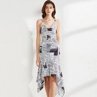 Women's Runway Dresses Spaghetti Straps Sexy Open Back Sleeveless Printed Fashion Asymmetrical Summer Dress Vestidos