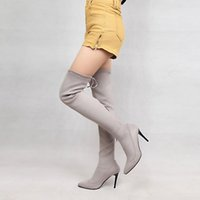 YMECHIC Occident Sexy Thin High Heels Pointed Toe Black Gray Plus Size Lace Up Tight Over The Knee High Knight Boots Woman Shoes