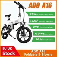 EU Stock ADO A16 Foldable Electric Bicycle 16'' Tire 350W DC Motor 25km h Max Speed Men City BIke Mountain Ebike Dropship