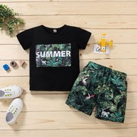 Hawaii Style Boys Clothes Sets For Toddler Kids Baby Letter Floral Tops+ Shorts Outfits Summer Sport Boy Vetement 2021 Clothing