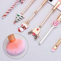 Makeup Brushes Beauty Eye Shadow Christmas Ornaments Cosmetics Tool Santa Claus Pattern Gift Metal Handle