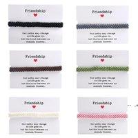 Mode Freundschaft Charm Armbänder für Frauen Handgemachte gewebtes geflochtenes Armband mit Papierkarte Einstellbar Böhmischen Stil Wachs Seil GWA8544