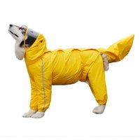 강아지 의류 비옷 큰 중형 작은 개를위한 반사 방수 jumpsuit 야외 애완 동물 poncho coveralls 파란색 노란색 wyang