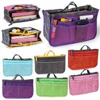 أدوات الزيادات المكياج ماكياج المنظم حقيبة الهاتف إدراج المنظمون حقيبة يد مزدوجة سستة التخزين أكياس تخزين السفر متعدد الطبقات RRD7228