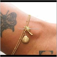 Charm Jewelrygold Metal Shell Coconut Tree Female Barefoot Sandals Summer Double Layers Anklets On Foot Ankle Bracelets Drop Delivery 2021 3B