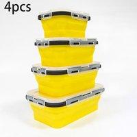 Bouteilles de stockage pots 4 pcs / ensemble boîte à lunch Conteneur Snack Silicone Snack Colapsible Micro-ondes