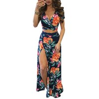 New Elegant Women Summer Long Maxi Dresses Two Piece Set Sexy 2017 Hollow Out Crop Top Skirts Floral Print 2 Piece Suits