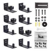 In 1 schwarze Gleitreste Türschiene Riemenscheibe Hardware Kit Top montierte Aufhänger Spur Schrank Roller Andere