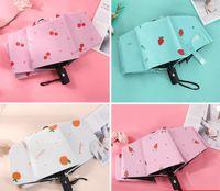 Umbrellas Sunscreen Fruit Pattern Automatic Umbrella Sunny And Rainy Folding Black Glue Sunshade All Kinds Of Lovely Patterns