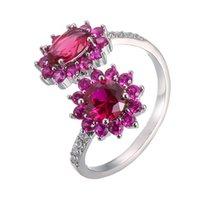 Anelli cluster rose rose rosso zircone apressione temperamento rame donna alla moda semplice per femmina fidanzata gioielli creatività regalo all'ingrosso