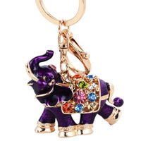 Keychains Metal Cute Thai Auspicious Rainbow-Elephant Key Holder Chains Enamel-Animal Rhinestone-Crystal Pendant Keyrings Women