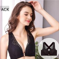 Bras Women's Full Coverage Wirefree Lace Plus Size Front Closure Bra Racerback Large Criss Cross Shaping Posture Lift Femme