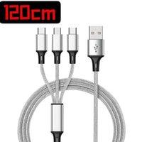 1.2m 3 em 1 Cabos de carregamento para Huawei LG Samsung Note20 S20 Micro USB Tipo C com Metal Head Plug Opp Bag