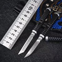 Wholesale Damascus steel knife portable self-defense pocket knife outdoor camping hunting fixed blade multi-purpose pen knives tactical survival fishing EDC tool