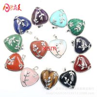 Peach Natural Crystal Heart-shaped Pendant Necklace Female Rose Pendant Lovers Gift