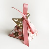 Gift Wrap 20Pcs Cherry Blossom Favor Box And Bags Sweet Diy Candy Boxes For Party With Ribbon Wedding Birthday Decoration