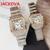 Iced Out Square Roman Dial Designer Watch Luxury Men Day-Date Stainless Steel President Business Womens Mens Diamonds Ring Wristwatches