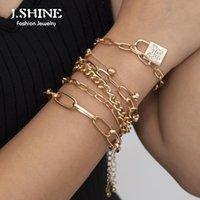 Charm Bracelets JShine Bohemian Multi Layer Chain Bangles Butterfly Lock Pendant Stackable Bracelet Set For Women Jewelry Gifts