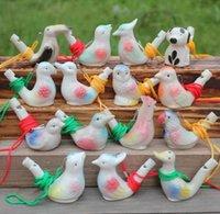 Eau oiseau oiseau céramique argile dessin animé cadeaux cadeaux mini animales de paon sifflets rétro artisanat whistl gwf9180