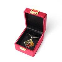Portátil escovado fivela de metal gem pingente pulseira jóias caixa de jóias embutido flanela preta sente boa para bolsas de acessórios de menina, BA