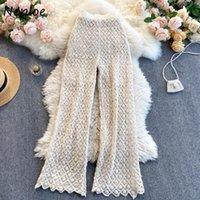 Неослое Элегантное кружевное крючок Цветок Сплошные брюки Женщины Высокая талия Бедкая вспышка Длинные панталоны Муджера Весна 2021 Брюки женские капризы
