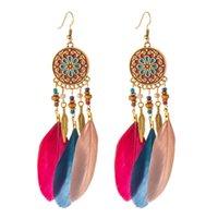 Bohemian Red Black Feather Tassel Dangle Earrings for Women Ohrringe Summer Boho Indian Jewelry Kolczyki Vintage Statement Earring