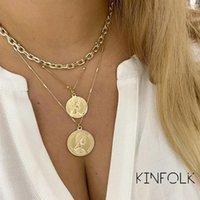 2021 Trendy Multilayed Münze Halskette für Frauen Gold Geometrische Runde Perlen Kette Choker Halsketten Geschenke Juwelenr Anhänger