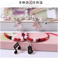 Charm Bracelets Sweet Girl Fresh Fashion Hand-woven Ceramic Beaded Jewelry Personality Cute Musical Note Butterfly Pendant Bracelet Accessor