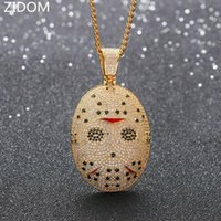 Men Women Hip hop iced out bling mask pendant necklaces Zircon charm necklace Hiphop jewelry fashion gifts