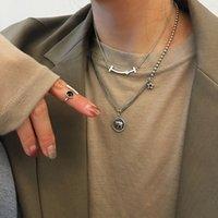 Retro Doble Diamante Cinco puntiagudo Colgante Colgante Collares 925 Sterling Silver Stam Jewelry Femenino Personalidad Redonda Marca Elefante Animal NEC