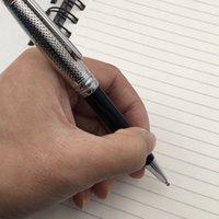 Stylos de luxe de stylos de stylos de stylo à bille à bille Top grade Argent Texture Texture Casquettes Stylos métalliques / Rollerball Noir Résine Noir Barrel 163 9N8i