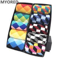 MYORED mens colorful casual dress socks combed cotton striped plaid geometric lattice pattern fashion design high quality H0911