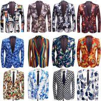 Colorful Stripe Stampa Uomo Blazer Giacca Design Plus Size 4XL 5XL Elegante casual maschio slim fit vestito giacca giacca cantante promintore cappotto1