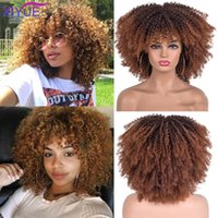 Synthetic Wigs African Ombre Glueless Cosplay Short Hair Afro Kinky Curly With Bangs For Black Women High Temperature