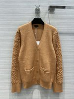 Milan Runway Sweaters 2021 Autumn V Neck Long Sleeve Print Women's Sweater High End Jacquard Cardigan Designer Clothing 0725-7