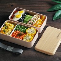 Dinnerware Sets Lunch Box For Kids Microwave Japanese Wood Bento 2 Layer Container Storage Portable Cute Drop